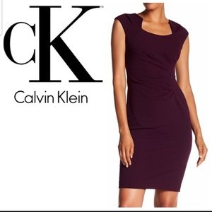 Calvin Klein Horseshoe Neck Fitted Dress